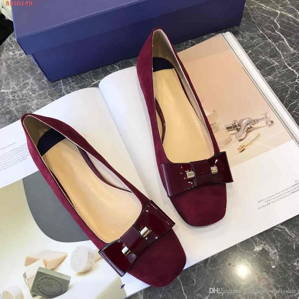 fashion new women dress flat shoes Square head classic temperament Nude and black rose size 34-40 with the packing hot sale