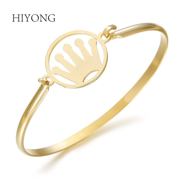 HIYONG Charm Couple Crown Bracelets Jewelry For Women Elegant Bangles Gold Stainless Steel Bracelets Trendy Gift for Girlfriend
