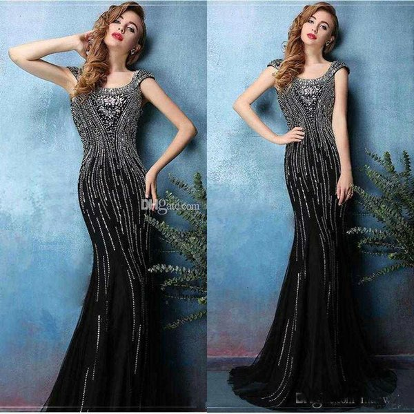 2020 black bead mermaid prom dresses long scoop neck backless crystal evening gowns vintage short sleeve trumpet satin party dress