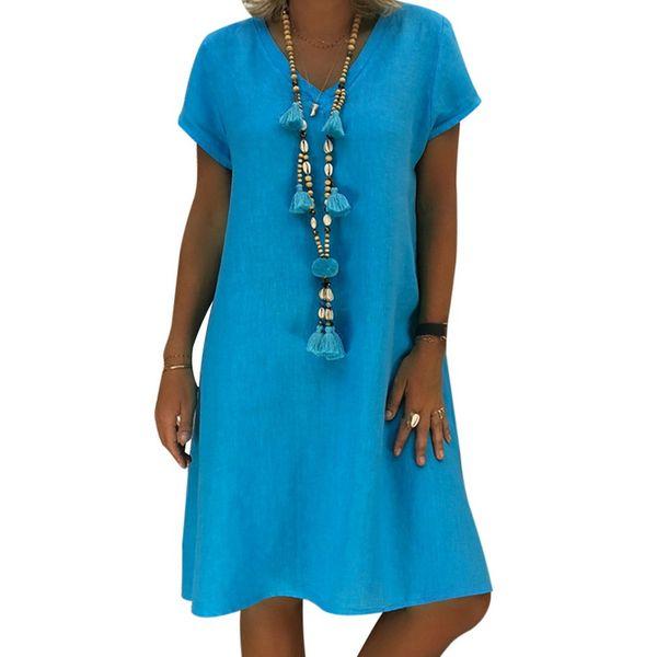 2018 Yeni Moda Mavi V Boyun Gevşek Plaj Tunik Elbise Kadın Boho Mini Elbise Tatil Pamuk Gömlek Elbiseler Femme Vestidos
