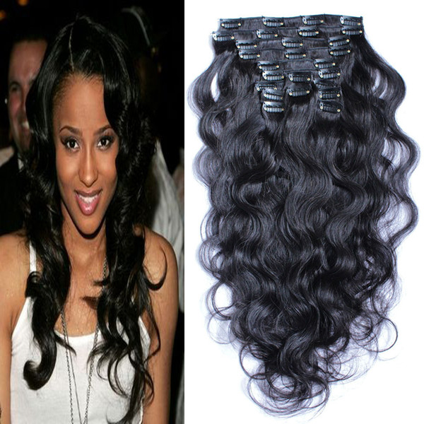 malaysian body wave Clip In Human Hair Extensions 100g Brazilian Machine Made Remy Hair 100% Human Hair Natural Black Color 8pcs