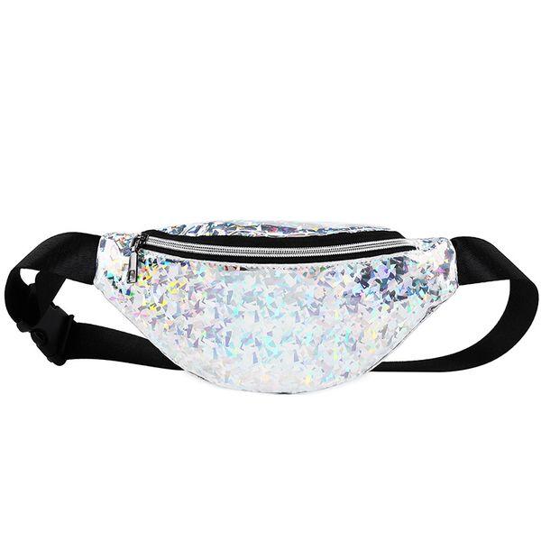 NEW Fashion Sport Style Unisex Laser Translucent Waist Bag Waterproof Rainbow Silver Fanny Packs Women Waist Bags
