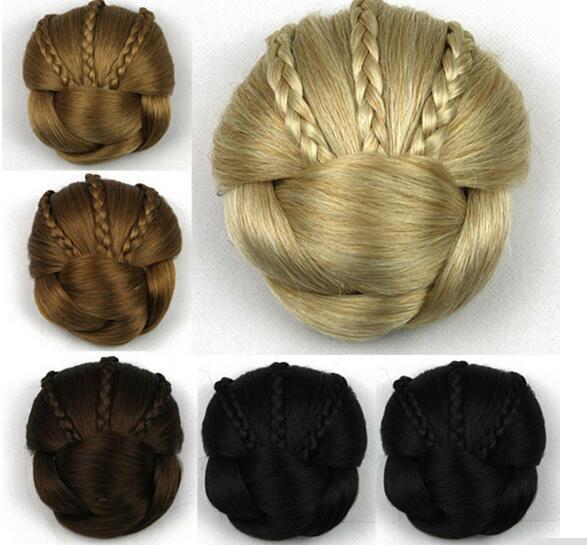 Female Fashion french tiara wave curly hair clip for braids in big hair Bun Chignon synthetic hair wig headband headwear accessories 2pcs