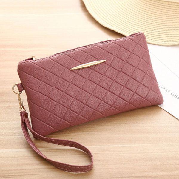 Moda suave de cuero de la pu billetera de señora largo diseño embrague teléfono cremallera mujeres bolso de mano pequeño cuadrado para mujer carteras y monederos 100 g