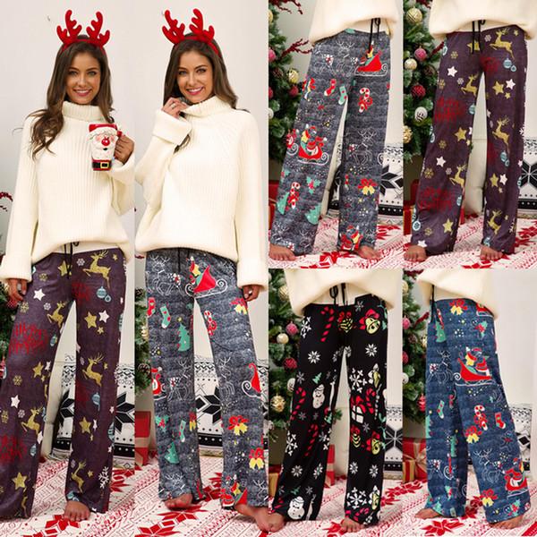 top popular Christmas Wide Leg Pants 4 Colors Comfy Stretch Xmas Women Long Pants Printed Drawstring Patchwork High Waist Pants LJJO7153 2020