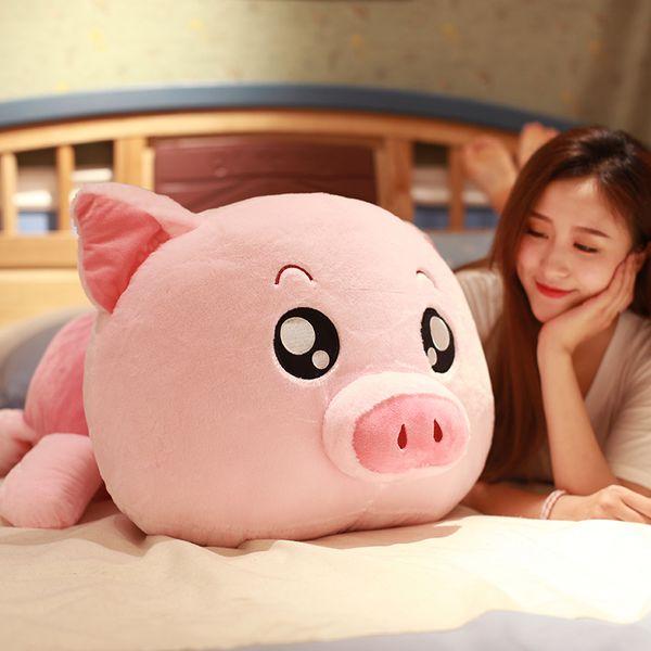 Çocuklar Hediye Deco 35inch 90cm DY50661 için güzel Pembe Domuz Peluş Oyuncak Dev Yumuşak Yağ Kawaii Piggy Bebek Karikatür Yastık