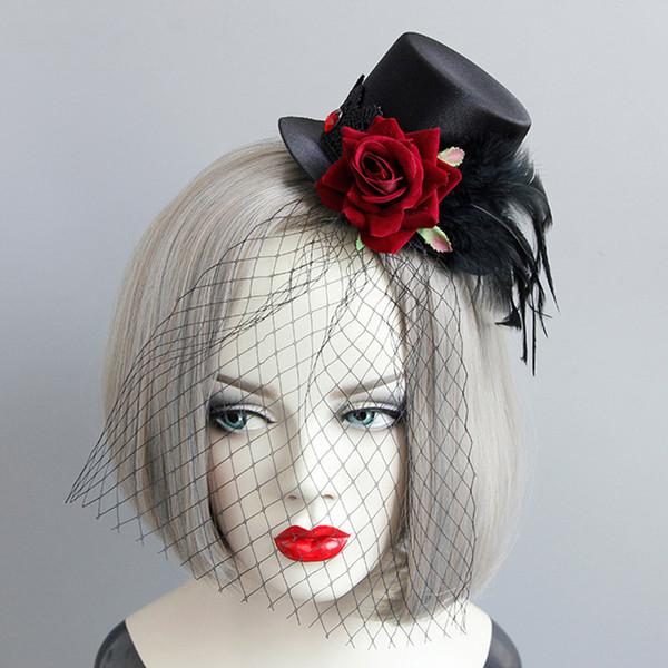 Punk Feather Netted Fascinator Piuma nera Cappelli con rose rosse Fascinator con velo Accessori per Halloween per adulti Fasce per bambini vintage