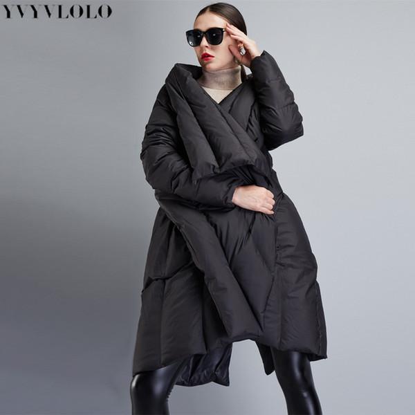 YVYVLOLO kadın Kış Ceket 2018 Yeni Parka Kadınlar Düzensiz pelerin Uzun artı boyutu Kış Ceket Kadınlar Kalın Sıcak Kadın Mont