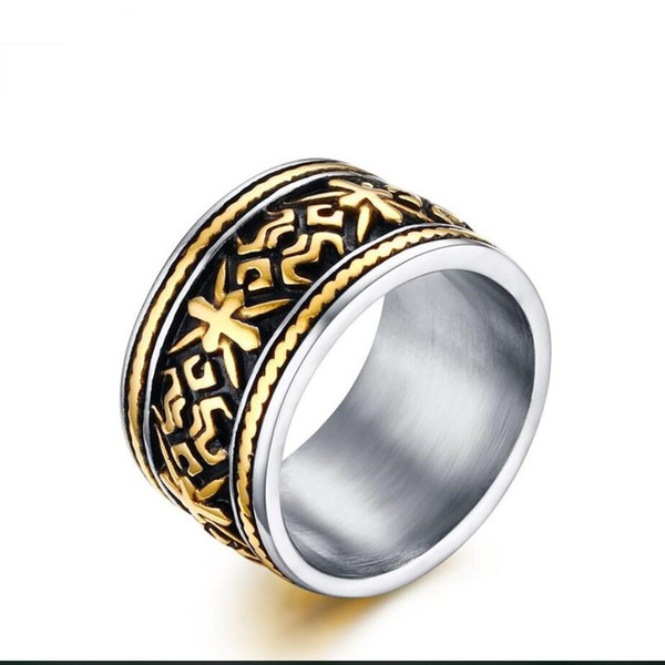ZHF Jewelry Mens Rings Punk Rock Vintage Gothic Totem Shape Design Stainless Steel Ring Men Wide Tri Color Fashion Jewelry anel masculino