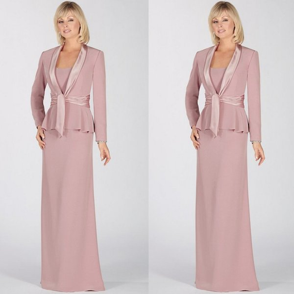 New Pink Chiffon Mother Of Bride Dresses Scoop Neck Long Sleeves Prom  Dresses With Jacket Formal Floor Length Mother\u0027S Dress Dresses For Mother  Of