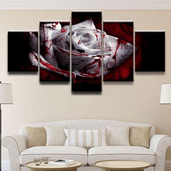 Kan Koyu Beyaz Gül, 5 Parça Tuval Baskılar Duvar Sanatı Yağlıboya Ev Dekor (Çerçevesiz / Çerçeveli)