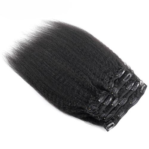 Kinky Striaght Clip In Human Hair Extension 10pcs 100g/Set Brazilian Natural Hair in Clips Full Head Remy Hair
