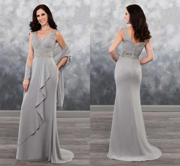 Fashion Sliver V neck Mother of the Bride Groom Dresses with Shawl Applique Beaded Ruched Chiffon Long Cheap Mother Evening prom Dress