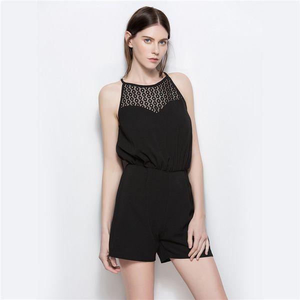 Hot Style Women's New Summer Sleeveless Chiffon Mesh Jumpsuit Shorts