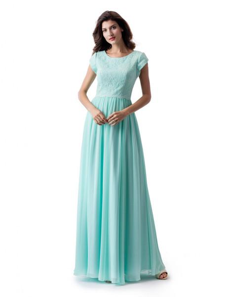 Hortelã A linha longa e modesto vestido de baile com mangas cap novo laço chiffon até o chão vestido de dama de honra modesto para festa de qua