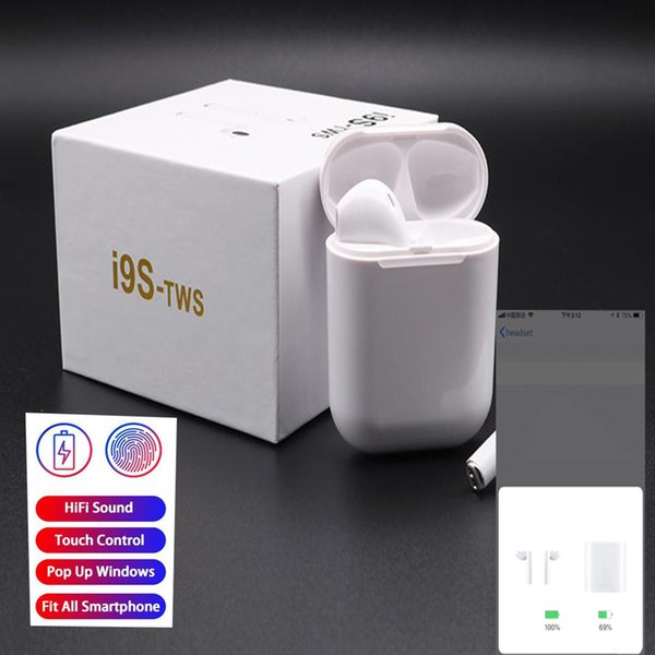 i9s Boot Pop-ups Touch control Bluetooth earphone 5.0 Wireless Head phones Earphones 6D stereo with magnetic charging box for iPhon