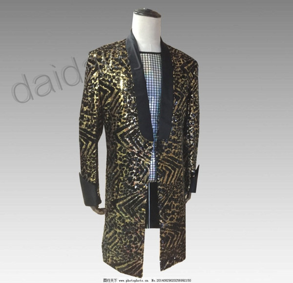 Men's Leopard Sequins Long Suits Nightclub Guests DJ Stage Dresses Night Rock Men's Lead Dancer Costumes Male Singer Clothing