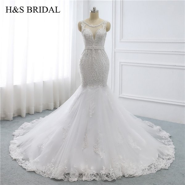 Elegant Mermaid Wedding Dress Luxury Beading Lace Edge Bridal Gown With Sashes Sweep Train See Through Wedding Gown For Women Cheap Gowns Cheap Lace