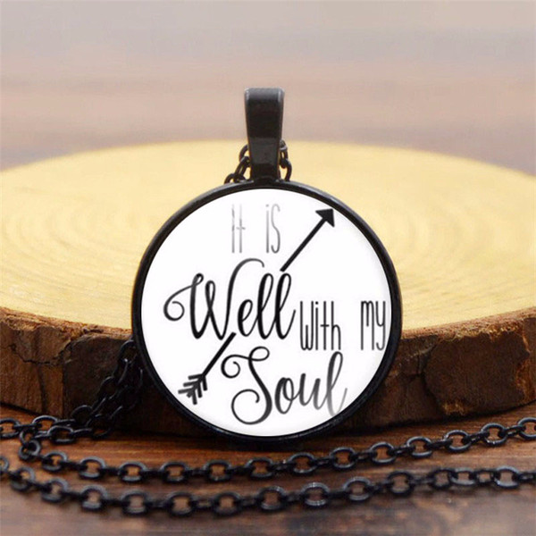Foreign Trade Explosion Jewelry It Is Well With My Soul Time Gemstone Pendant Necklace Retro Glass Resin Dome Pendant Necklace Sweater Chain