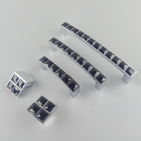 Großhandel Kristallglas Serie Diamant Schwarz Möbelgriffe Türgriffe Kommode  Schublade Kleiderschrank Küchenschränke Schrank Pull Tür Zubehör Von ...
