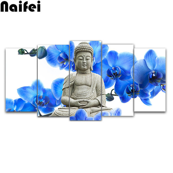 "5D DIY Full Square Round Diamond Painting ""Buddha & orchid"" Multi-picture Combination Embroidery Cross Stitch Mosaic Decor"