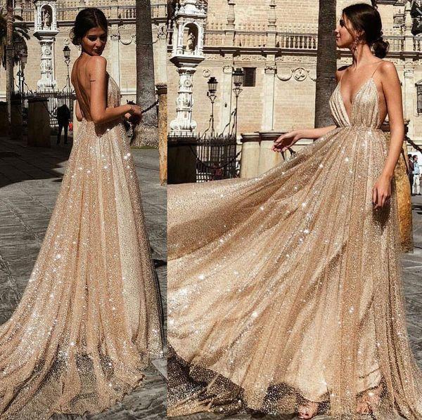 Sparkly Sequins Prom Dresses Long Deep V