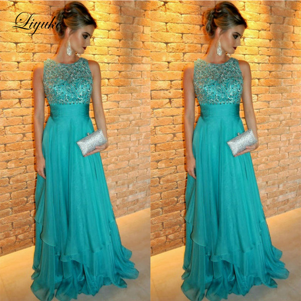 Turquoise O-Neck A Line Mother Of Bride Dresses Applique Tank Sleeve Floor Length Wedding Party Guest Evening Prom Gown Plus Size Liyuke