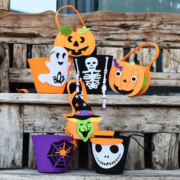 Halloween Pumpkin Candy Bag sourire mignon panier visage enfants cadeau Pouch Sac fourre-tout Renfoncement Props Pail non-tissé décoration 8 styles XD21780