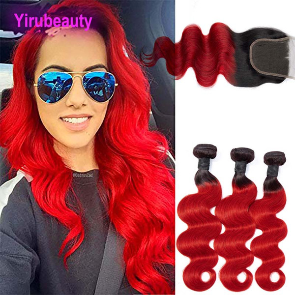 Brazilian Virgin Hair Extensions 3 Bundles With 4X4 Lace Closure 1B/red Body Wave Bundles With Lace Closure With Baby Hair 12-26inch