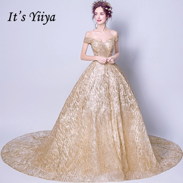 It's Yiiya Boat Neck Gold Luxury Evening Dresses Floral Bling Sequined Fashion Designer Floor Length Formal Dress Lx296 Y19051401