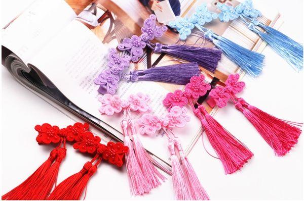 Ethnic style double bow tassel hair accessories children's duckbill clip