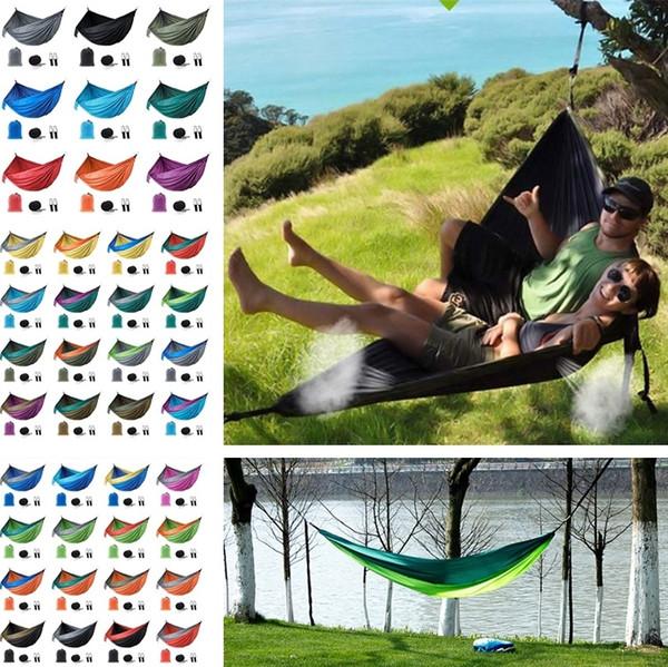 Caldo 44 colori Campeggio amaca esterna pieghevole altalena coperta doppia persona paracadute nylon robusto patchwork 270 * 140cm 4955