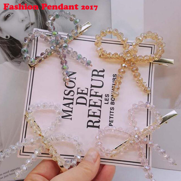 Shiny Bling Crystal Bow Tie Girls Hairpins Full Rhinestone Barrettes Hair Clips Hair Accessories For Womens Daliy