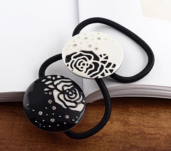 4X4CM European and American ladies style Acrylic C style round hair accessories jewelry hairpin headwear camellia hair rope rubber band