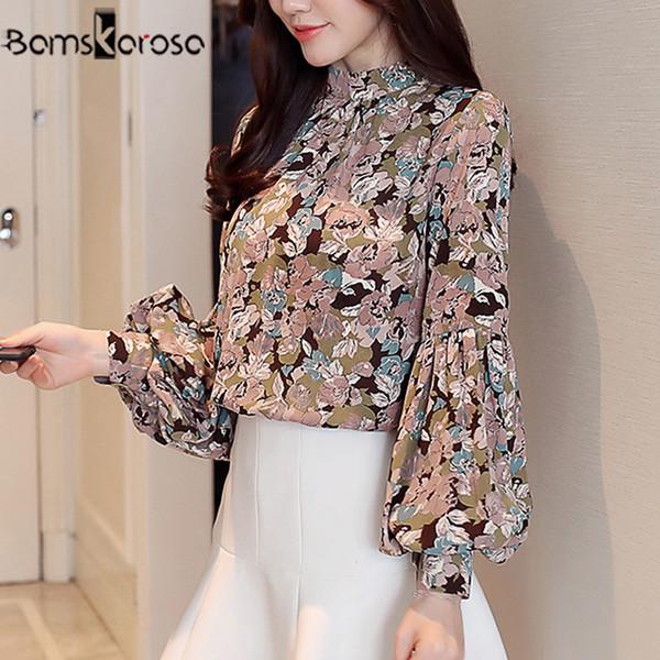 Moda de otoño Blusas de gasa de manga larga elegante blusa floral Ropa de trabajo de oficina Camisas Mujeres Tops Tallas grandes Blusas Q190509