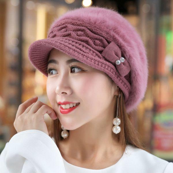 HT1916 New Rabbit Fur Hats for Women Berets Solid Autumn Winter Women Hats Thick Warm Female Flat Newsboy Cap Ladies Beret Hat