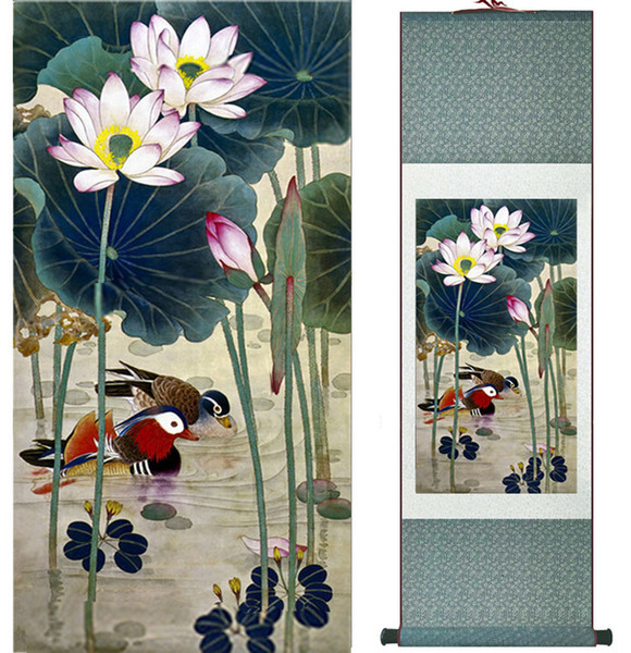 Mandarin Duck And Water Lily Chinese Art Painting Home Office Decoration Ink Wash Paintingprinted Painting