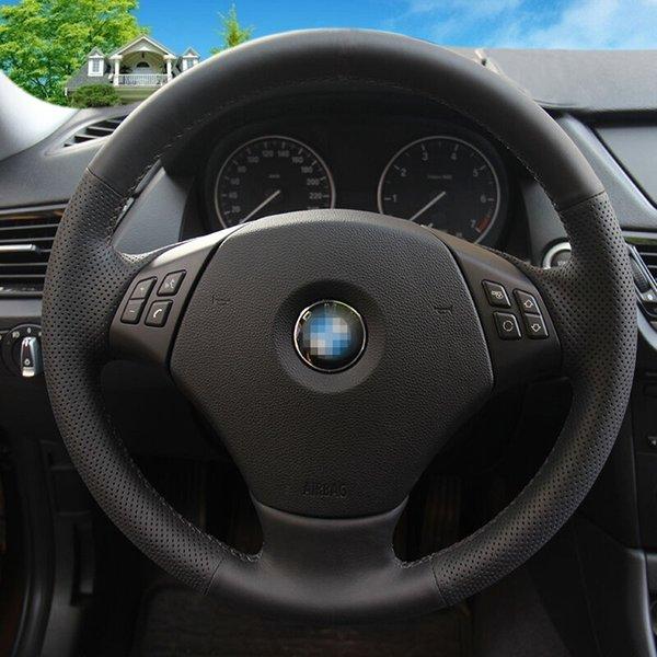 Trigo brillante Cubierta de volante de coche de cuero artificial negro para 320 318i 320i 325i 330i 320d E90 X1 328xi 2007