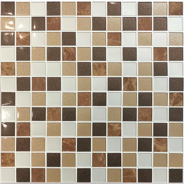 Compre Teja Benice Por Paquete Decorativo De Pvc Etiqueta De La Pared Del Mosaico En Brown Mix Para Simple Diy De La Pared Interior La Pared