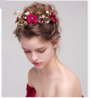 Mode Strass Rote Blume Gold Überzogene Schmetterlingshaarbänder Hochzeit Tiara Perle Stirnbänder Braut Haarschmuck Zubehör