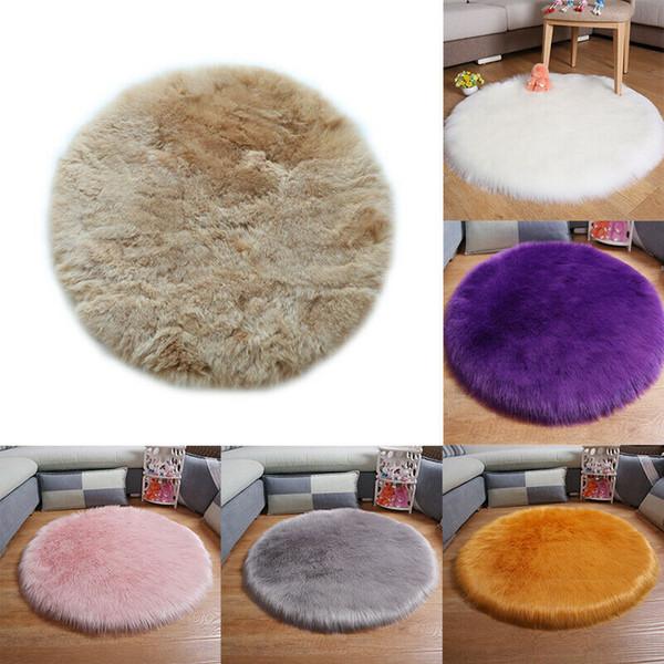 Newest 40-60 CM Round Shaped Fluffy Rug Shaggy Plain Fluffy Art Nature Home Decor Anti-Skid Area Rug Room Home Bedroom Floor Mat