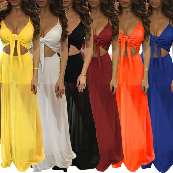 Women Sexy Sheer Party Dresses Spaghetti Straps Wrap Bow Crop Bow High Waist Split Beach Club Maxi Dress White Black Yellow Orange