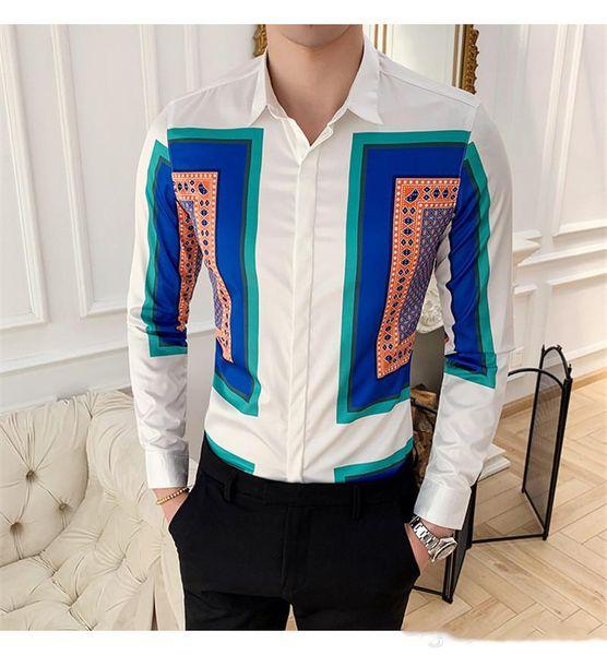 Summer Mens Designer Shirts Fashion Geometric Printed Shirts Casual Turn-down Collar Shirts