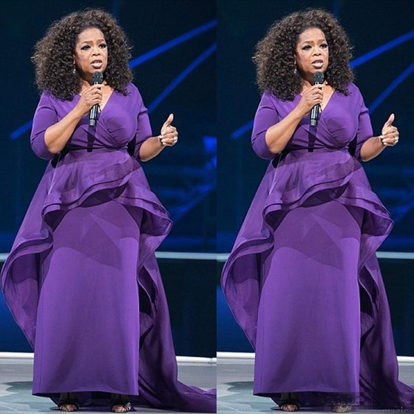 Plus Size African 2k18 Purple Sheath Prom Dresses V Neck 3/4 Long Sleeves Ruffles Sexy Prom Evening Gowns Formal Dress Party Gowns