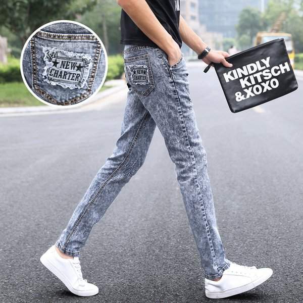 Moda 2019 İlkbahar Sonbahar Rahat elastik Skinny jeans erkek kar taneleri ayak gençlik rahat Gri Gençler Hip hop Kalem pantolon