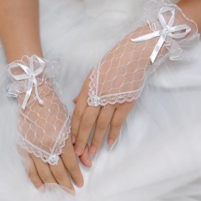 Beautiful black fingerless lace Wedding Glove White Short Sheer Lace Bridal Accessory Modern Ring Finger Wrist Length Bridal Gloves With Bow