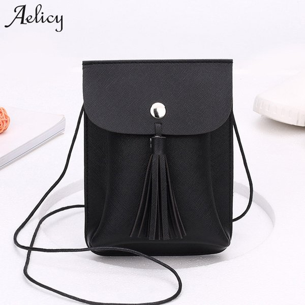 Cheap Aelicy Luxury PU Leather Bag Female Fashion Women Tassels Bag Crossbody Bag New Design Hasp Ladies Women's Purses And Hand bags