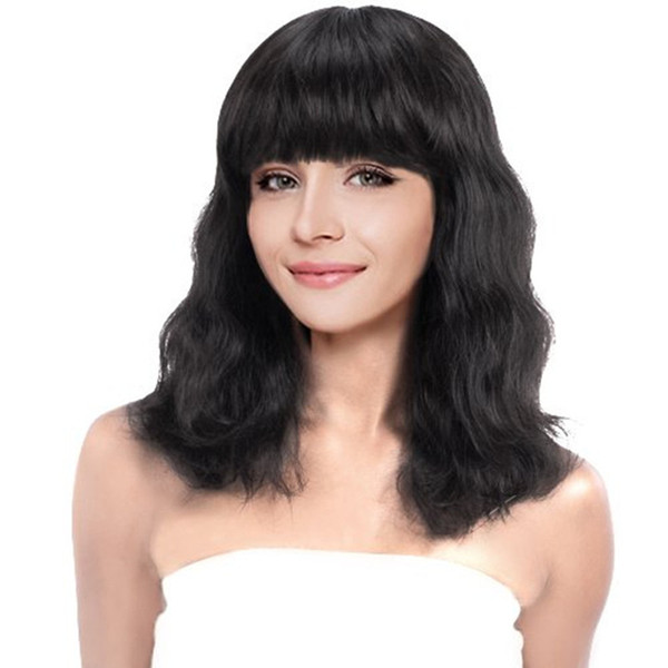 Short wave with bangs Human Hair Wigs For Black Women remy hair wigs with baby hair natural color