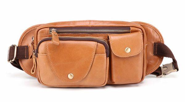 WINSUN Genuine Leather Chest Bags Men Leather Waist Bag Belt Phone Pouch Bags Travel Waist Pack Male Shoulder Crossbody Bag Men