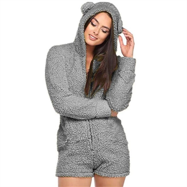 Winter Women Fur Jumpsuit Long Sleeve Hooded Short Playsuit Fashion Cute Bear Ear Hoodie Jumpsuits